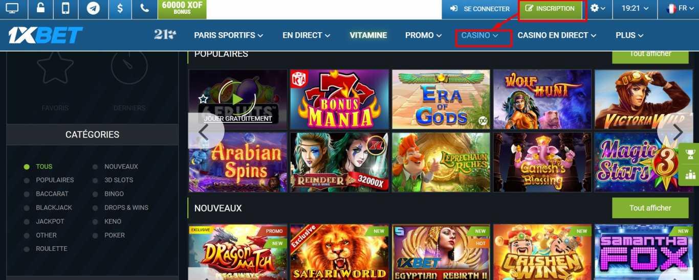 Inscription sur la plateforme casino jeux et paris 1xbet code promo online